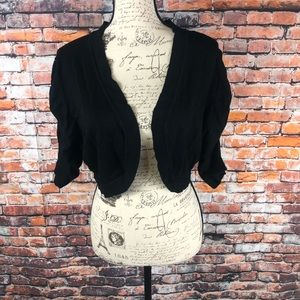 Torrid Black Cropped Cardigan Ruched sleeve sz 2